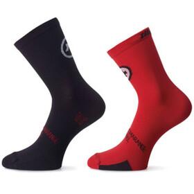 assos tiburuSocks_Evo8 Fietssokken Twin Pack rood/zwart